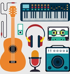 Music instruments and sound flat design vector