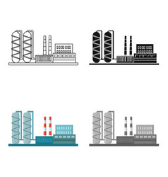 Oil refinery factory icon in cartoon style vector