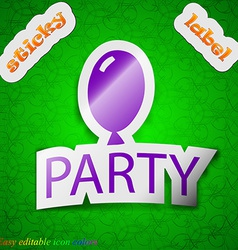 Party icon sign symbol chic colored sticky label vector