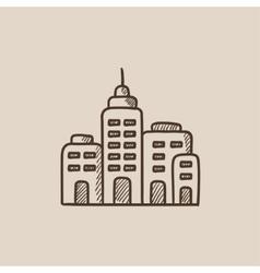 Residential buildings sketch icon vector image vector image