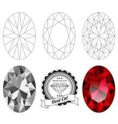 Set of oval cut jewel views vector
