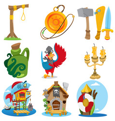 Set with pirate attributes various items medieval vector