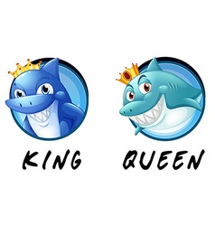 Sharks being king and queen vector