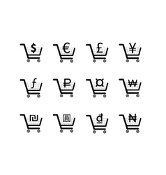 Shopping carts icons with main currency signs vector