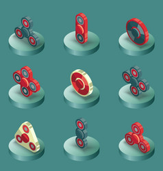 spinners color isometric icons vector image