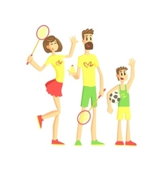 Sporty Family With Tennis Rackets And Ball vector image