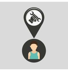 Support pin location man design vector
