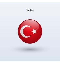 Turkey round flag vector
