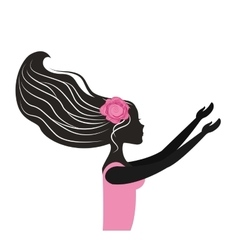 woman dancing silhouette icon vector image