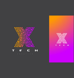 X letter logo technology connected dots letter vector