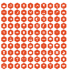 100 nature icons hexagon orange vector