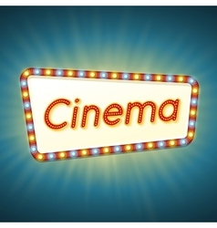 Cinema 3d retro light banner with shining bulbs vector