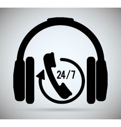 Headphone phone call center icon graphic vector