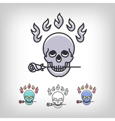 Skull logotype design set line art icon vector