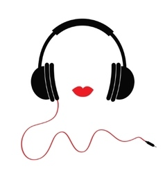 Headphones with red cord and lips music card flat vector