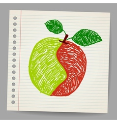 Doodle apple collage vector image