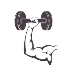 Silhouette muscular arm holding a disc weights vector