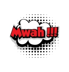 Comic text mwah sound effects pop art vector