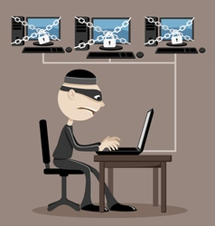 Computer hacker in a mask vector