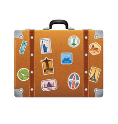 Travel stickers on retro leather suitcase vector