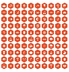 100 nature icons hexagon orange vector