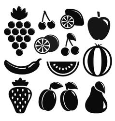 Set black fruit objects vector