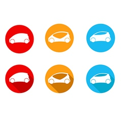 Round car icon with flat long shadow icon vector