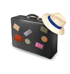 Travel suitcase and a hat vector