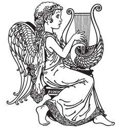 Girl angel playing lyre black and white vector