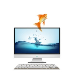 Computer monitor and goldfish vector