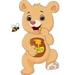 Cute baby bear holding honey pot isolated vector