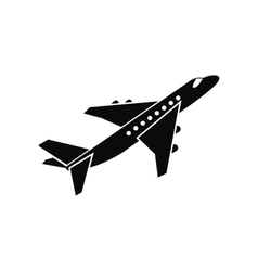 Passenger airplane black simple icon vector
