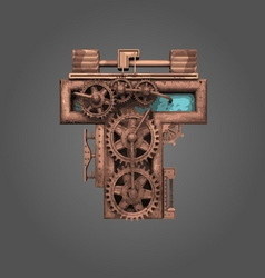 t rusted letter with gears vector image