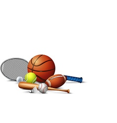 Many sport equipments on the floor vector