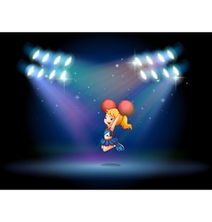 A stage with a cute cheerdancer performing at the vector image vector image