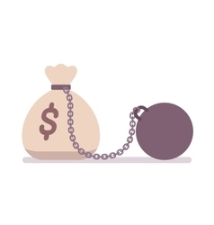 Big money sack on a metal chain with weight vector