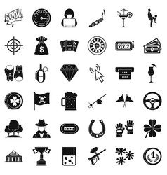 blackjack icons set simple style vector image