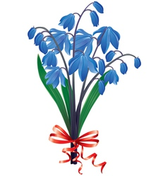 Bouquet blue snowdrops vector