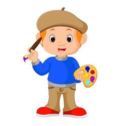 Cartoon artist boy vector