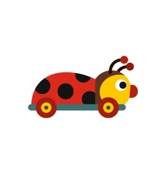 Colored ladybug toy on a wheels icon vector