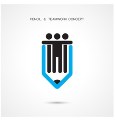 Creative pencil and people icon vector image