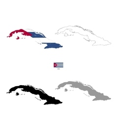 Cuba country black silhouette and with flag on vector image