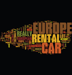 Europe car rental text background word cloud vector
