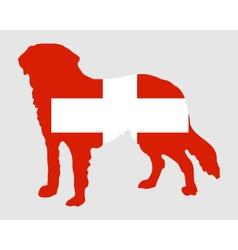 Flag of switzerland with saint bernard vector