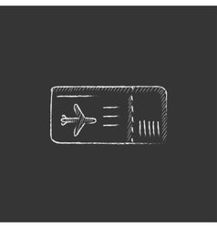 Flight ticket drawn in chalk icon vector
