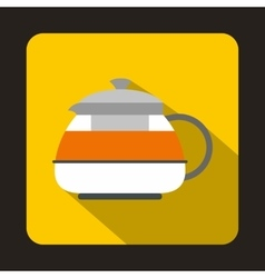 Glass teapot icon flat style vector image