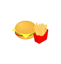 Hamburger and fries icon isometric 3d style vector