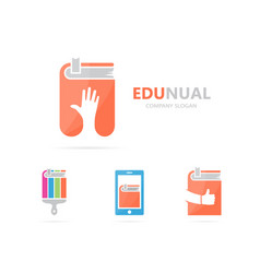 hand and book logo combination arm and vector image vector image