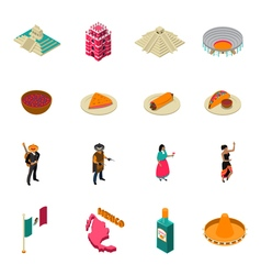 Mexico touristic attractions isometric icons vector
