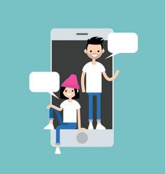 Mobile messenger concept millennial friends vector